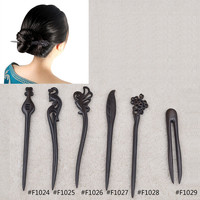 1 piece Chinese Style Retro Vintage Pattern Curved Ebony Wooden Women Hair Stick Hair Accessories Hair Pin