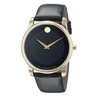Gold Tone Smooth Leather Strap Timepiece by Movado