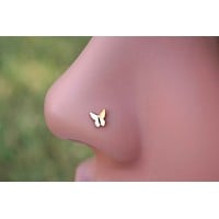Butterfly 14kt Rose Gold Nose Bone Stud