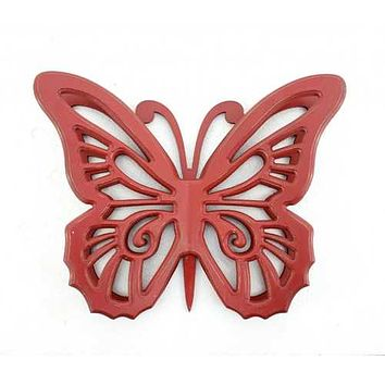 """18.5"""" x 23"""" x 4"""" Red Rustic Butterfly Wooden  Wall Decor"""