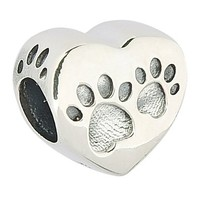 Dog Paw Print .925 Sterling Silver Animals Charm Bead Fits Pandora Charms