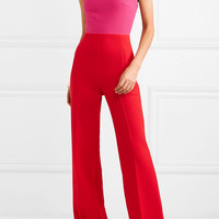 Roland Mouret - One-shoulder two-tone wool-crepe jumpsuit
