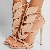 Metallic Winged Gladiator Heels