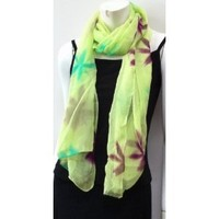 100% Silk Chiffon, High Quality Green Unique Designer Print Hand Dyed Scarf Neck Wear Wrap, Beautiful Accessory, Great Gift for Girls Women Ladies