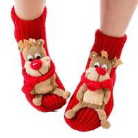Coxeer® Christmas Socks 3d Animal Non-slip Household Floor Socks for Women (Cute Elk)