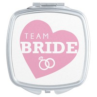 Team Bride Heart Pink Rings Bridesmaids Wedding Mirror For Makeup