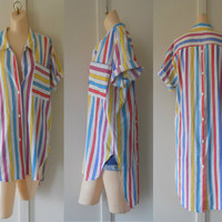 Oversize Shirt 90s Shirt Oversize Blouse 90s Blouse 90s Clothes 90s Clothing Womens Long Shirts Short Sleeve Blouse Colorful Shirt Striped