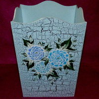 Wooden Waste Basket Custom Hand Painted Trash Can Garbage Can Decorative Office Bathroom Home Decor Housewarming Gift