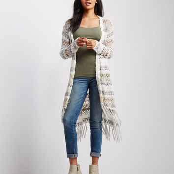 Open-Knit Striped Fringe Duster