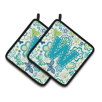 Letter W Flowers and Butterflies Teal Blue Pair of Pot Holders CJ2006-WPTHD