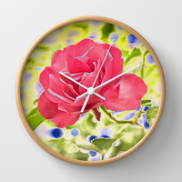 The rose and the blueberries Wall Clock by Pirmin Nohr