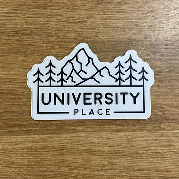 University Place Mountain and Trees Sticker