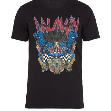 Logo and panther-print cotton T-shirt | Balmain | MATCHESFASHION.COM UK