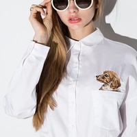 Puppy Embroidered Pocket White Shirt