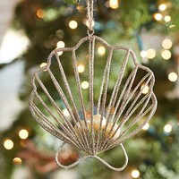 GOLD WIRE CLAM SHELL ORNAMENT