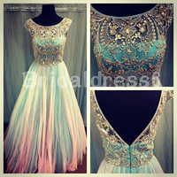 Beads Crystals Sheer Straps V-Back A-Line Long Cocktail Celebrity dress ,Floor length Tulle Evening Party Prom Homecoming Dress