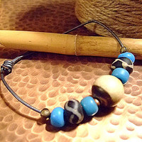 Men's Trade Beads Adjustable Bracelet, up to Size 9, Bone, Gift for Him, Christmas, Kwanza, Birthday, Friendship Gift, Unique Gifts, Etsy