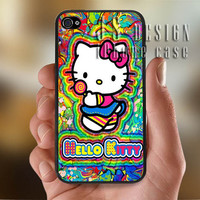 Sweet Hello Kitty Colorful - Photo Print for iPhone 4/4s Case or iPhone 5 Case - Black or White