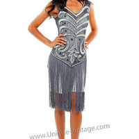 1920's THE SABLE Grey Beaded V Dropped Waist and Fringe Skirt Flapper Dress - S to XL - Unique Vintage - Cocktail, Evening & Pinup Dresses