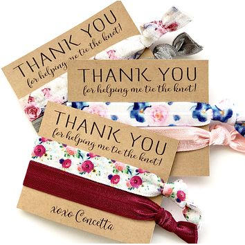 Thank you for helping me tie the knot, hair tie favors, wedding favor, bridal shower favor, personalized favors