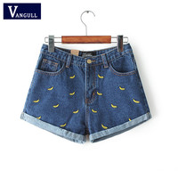 Denim Shorts Women Summer Banana Flower Embroidery Cotton Denim Shorts 2017 curling plus size casual female waist Jeans Shorts