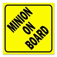 "Minion on Board Car Sign Square Car Magnet 3"" x 3"" on CafePress.com"