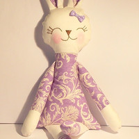 Stuffed bunny purple floral Sunny bunny rabbit plush rabbit bunny doll stuffed toy holiday gift for children