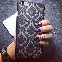 Iphone 6 Case Baroque Retro Court Lace Pattern Texture Hard Plastic Clear Case f...