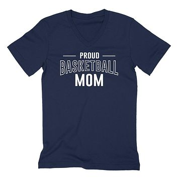Proud basketball mom team squad game day sport mom love basketball Mother's day  V Neck T Shirt