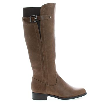 Encina by Soda, Faux Leather Riding Boots w Block Heel & Belted Detail & Elastic Back
