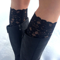 Lace boot cuffs - classic black lace boot toppers - women boot cuffs - teen boot cuffs - feminine