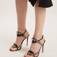 Christian Louboutin Black Suede Silver Stud Evening Sandals Heels