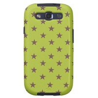 Acid Green And Brown Stars Pattern Galaxy SIII Cover from Zazzle.com