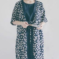 Lost in Kyoto Collection Japanese cotton linen dark blue white autumn leaves falling kimono outwear from PurpleFishBowl