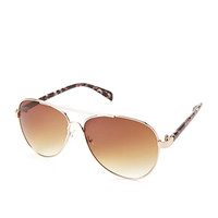 FOREVER 21 Iconic Aviator Sunglasses Brown/Gold One