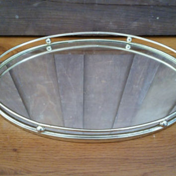 Vintage Brass Gold Toned Oval Mirrored Vanity Bar Tray