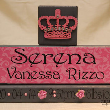 Personalized Baby Wood Blocks with Birth Stats/Announcement
