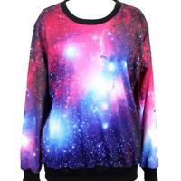 ImJoy Neon Galaxy Cosmic Colorful Patterns Print Sweatshirt Sweaters (Free size, Multi color)