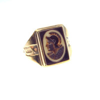 Sardonyx Cameo Men's Ring Hand Carved Victorian Agate