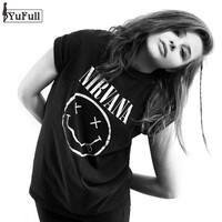 Harajuku Summer 2017 Casual Black T Shirt Women Tops Punk Rock Nirvana Letter Print Short Sleeve T-shirt O-Neck Tee Shirt Femme