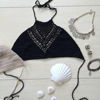 Young Spirit Crochet Top-Black