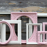 Pink and Cream Baby Girl Nursery Frame Set / Shabby Chic Decor / Pink and Antique White / Distressed Picture Frame Set / Lovejoy Collection