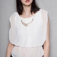 A3 Design Striped Chiffon Sleeveless Drape Top With Necklace - Ivory
