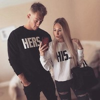 Tops Winter Slim Print Long Sleeve Couple Pullover Hoodies [83829096463]