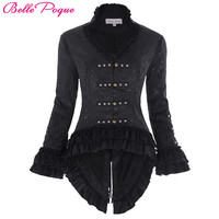2017 Retro Vintage Victorian Brocade Corset Women Outerwear Coat Sexy Black Jacket Lace Embellished Slim Dovetail Jacquard Coats