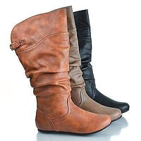 Kalisa69 by Wild Diva, Round Toe Adjustable Buckle Mid Calf Slouchy Pull On Boots