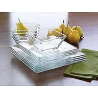 Transparent Design 12-Piece Square Glass Dinnerware Set