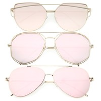 Women's Retro Modern Pink Color Tone Sunglasses - 3 Pack