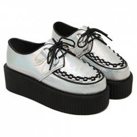 Vintage Women's Platform Shoes With Lace-Up and Round Toe Design