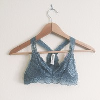 Cynthia Gray Floral Lace Halter Bralette